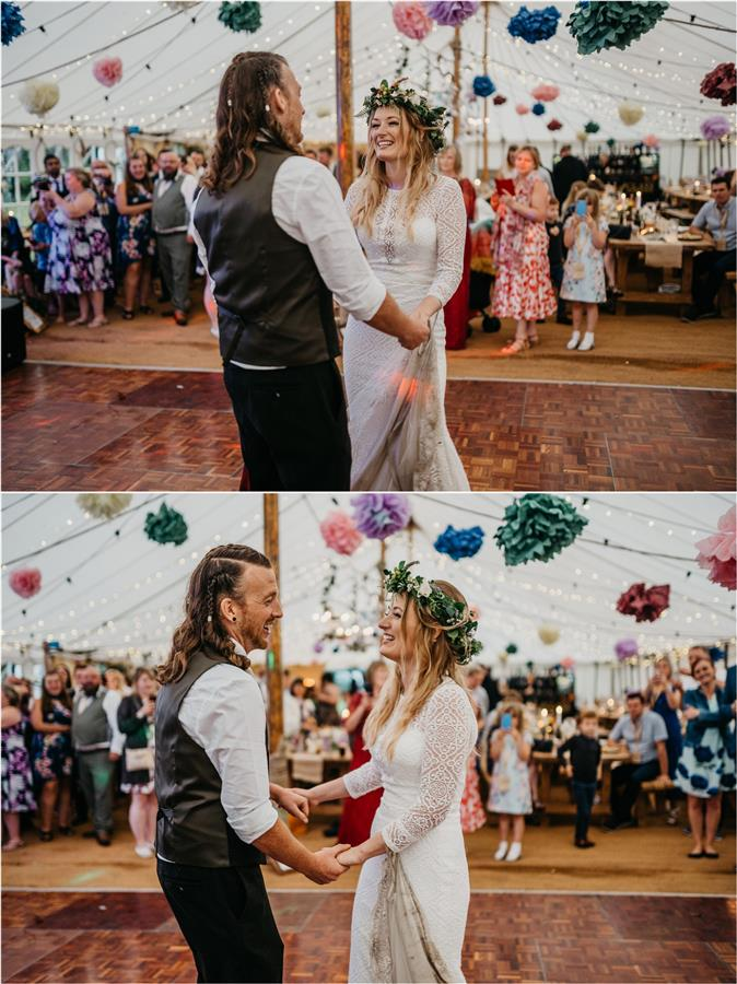 First dance for alternative couple at tipi wedding