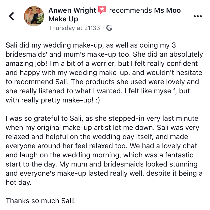 Wedding makeup review for Ms Moo Make Up