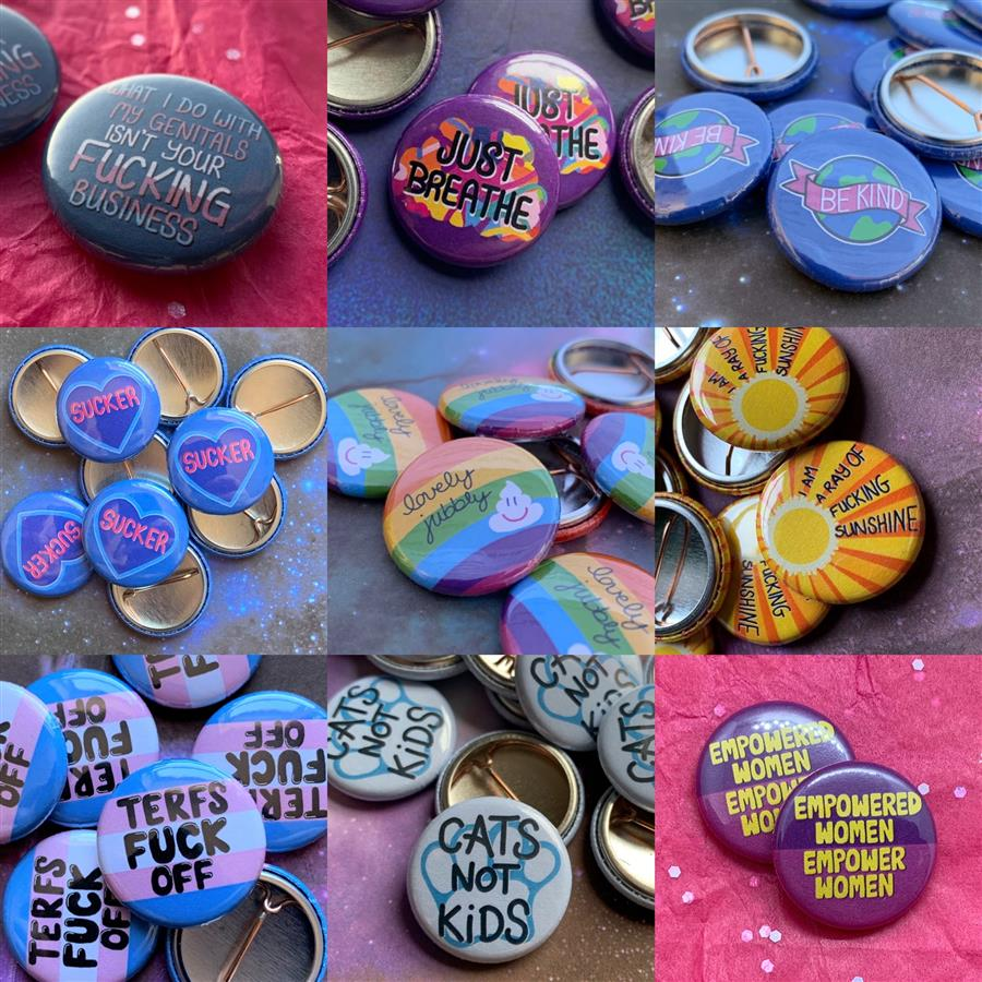 Colourful MooDoodlesUK button pin badges
