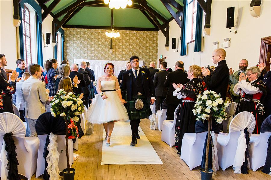 Bride and groom get married at Burton Town Hall