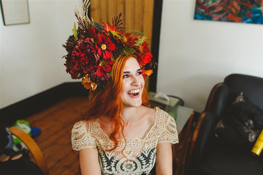 Large wedding flower crown on bride