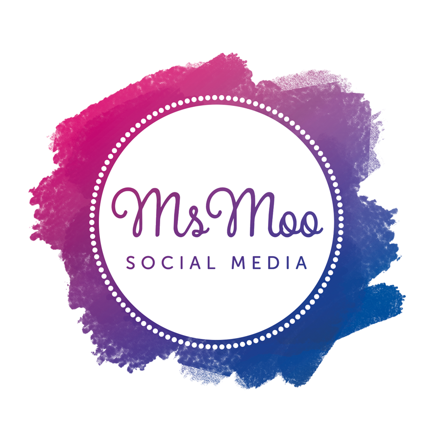 Blue and pink logo for Ms Moo Social Media