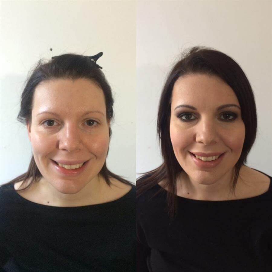 Jo's before and after, Ms Moo Make Up, bridal make-up