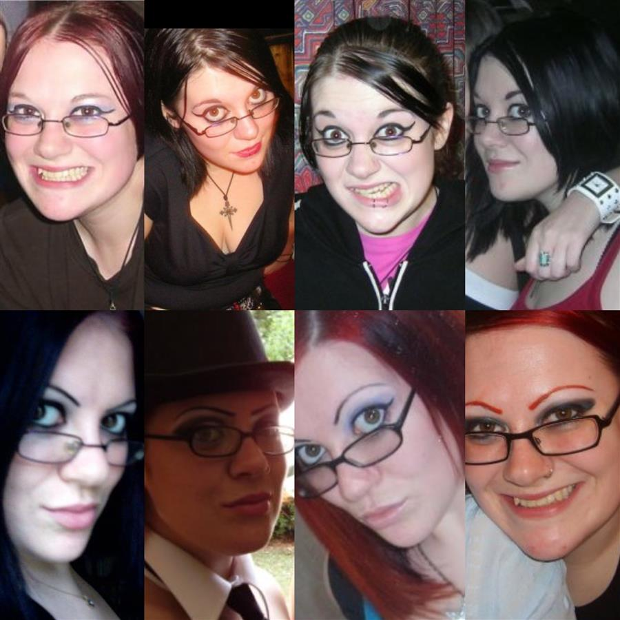 Various photos of Ms Moo wearing glasses with different eyebrow shapes
