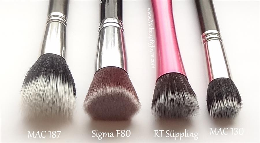 Sigma/MAC/Real Techniques stippling brush comparison