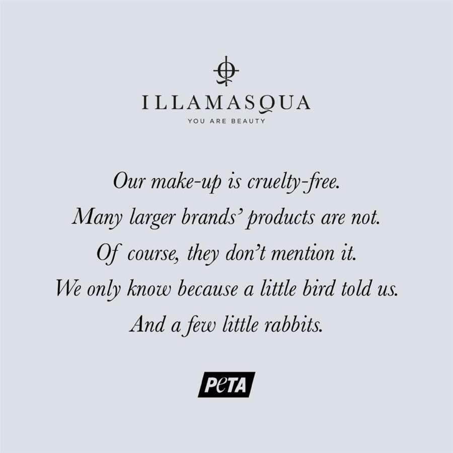 Illamasqua's Beauty not Brutality campaign for cruelty free products